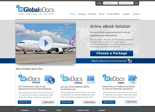 Web3D | עיצוב אתר אינטרנט לדוגמה: Global eDocs