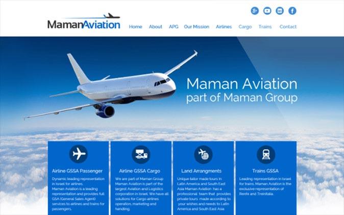 Web3d, עמוד הבית, maman aviation, בניית אתרים תדמיתיים