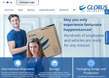 Website: Globus – international packaging and shipments פרויקט